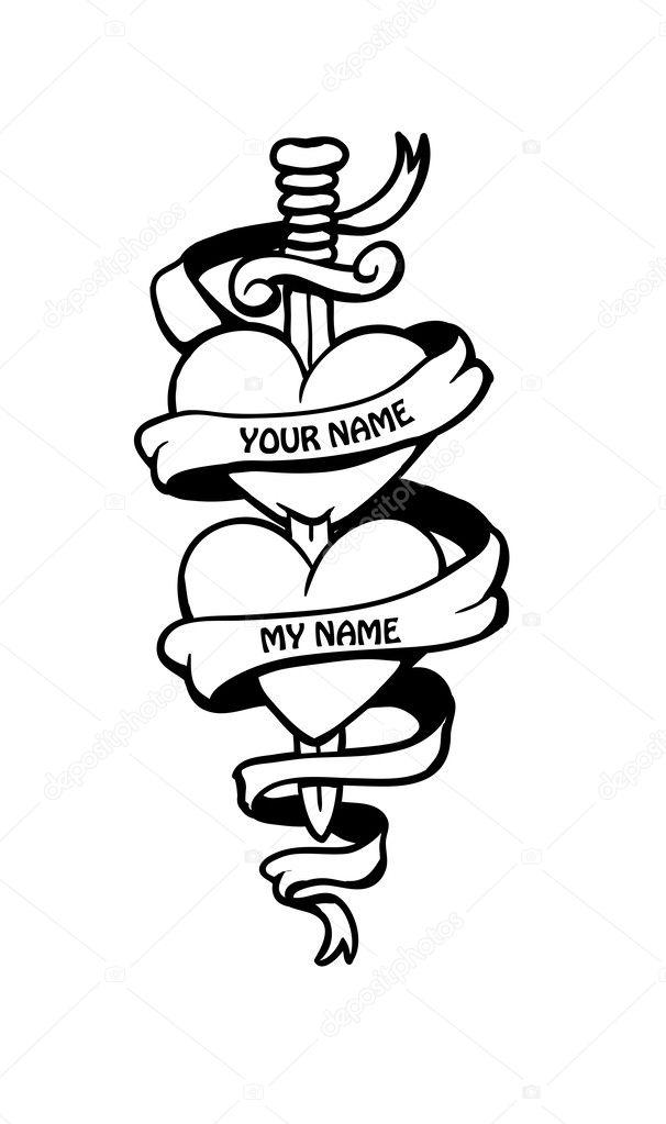 doodle deux coeurs dans le style de tatouage avec banni re image vectorielle fearsonline. Black Bedroom Furniture Sets. Home Design Ideas