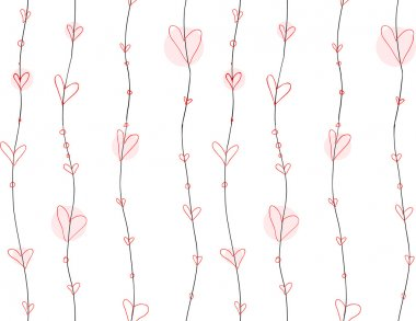 Doodle seamless simple heart lines pattern.