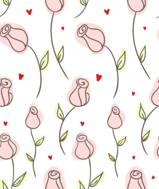 Seamless doodle roses pattern.