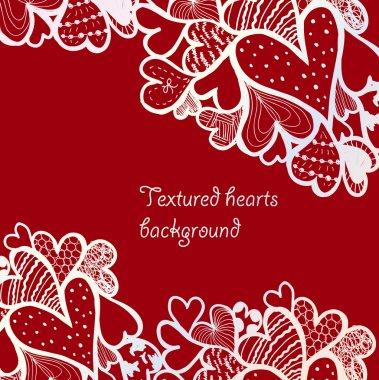 Doodle textured hearts background.