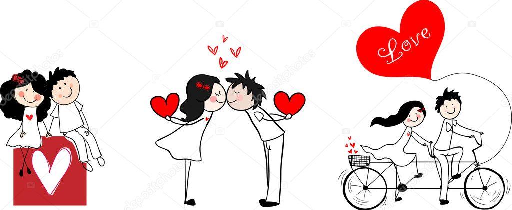 Doodle cute couples set.