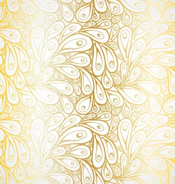 Seamless doodle golden peacock abstract peacock feathers pattern.