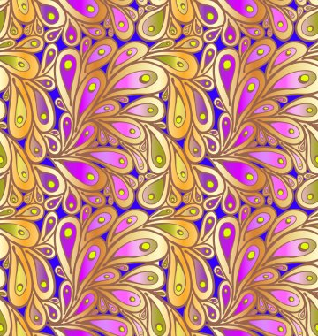 Doodle peacock feathers background in
