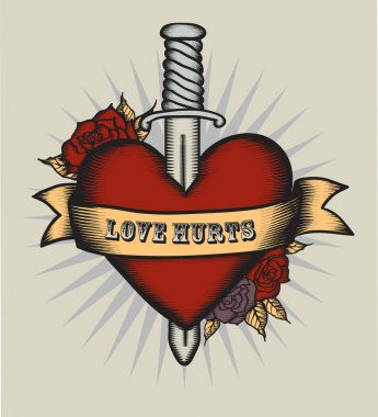 Heart in tattoo style.