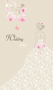 Wedding invitation congratulations card in pastel beige colors.