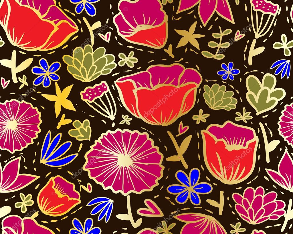 doodle flowers seamless pattern in khokhloma style u2014 stock vector