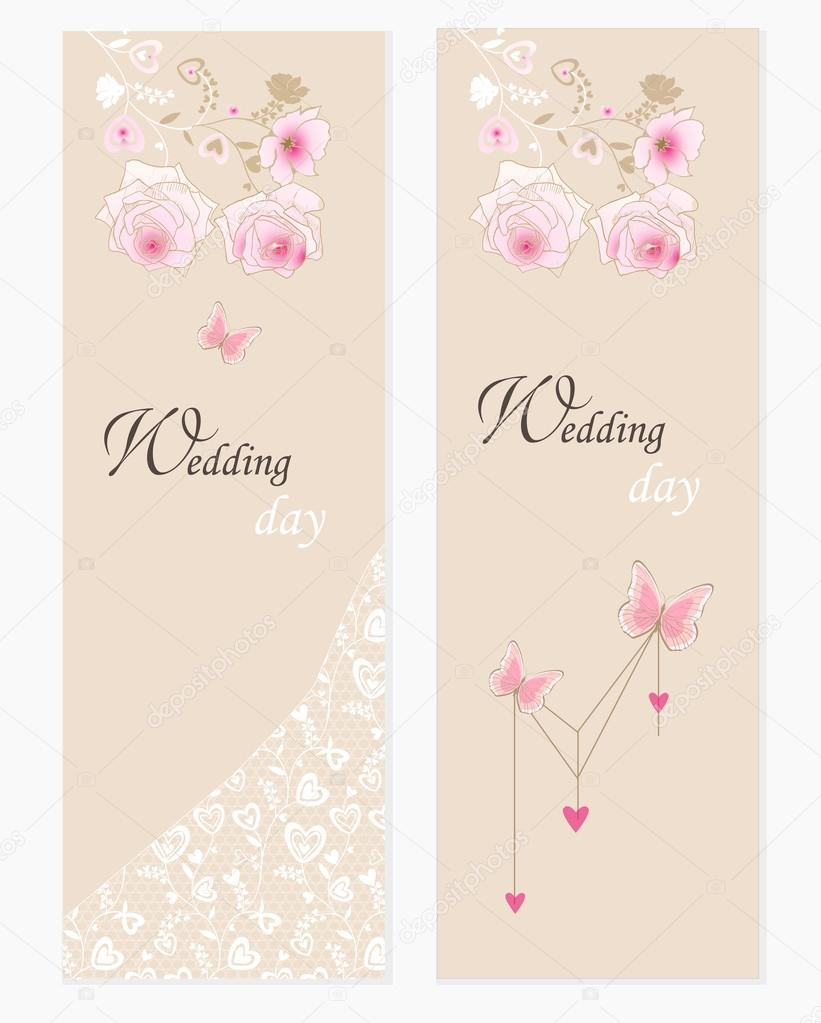 Wedding invitations set in pastel beige colors. — Stock Vector ...