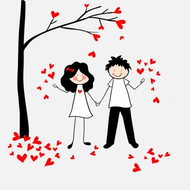 Doodle lovers: a boy and a girl with a tree and leaves-hearts.