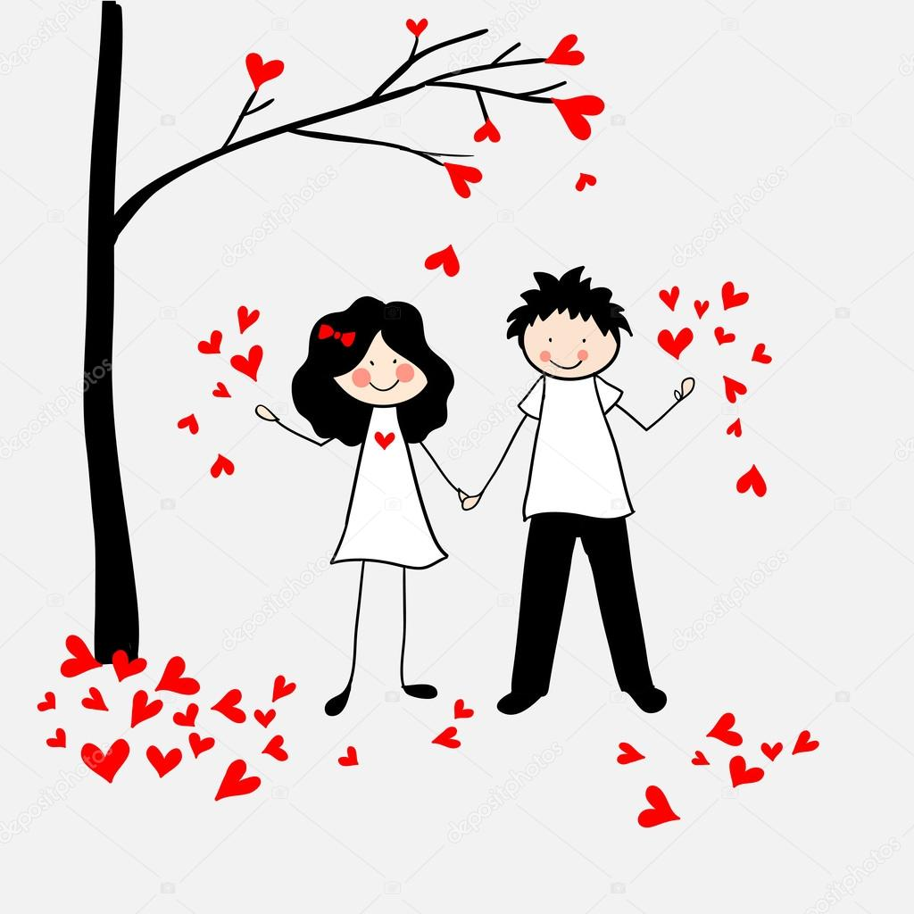 Doodle lovers: a boy and a girl with a tree and leaves-hearts. clipart vector
