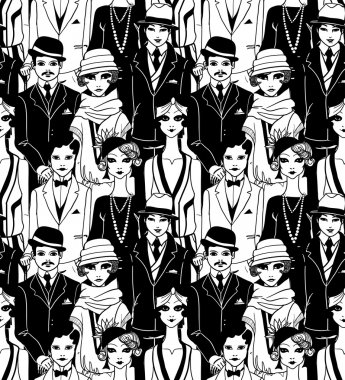 Doodle people in art deco style seamless pattern.