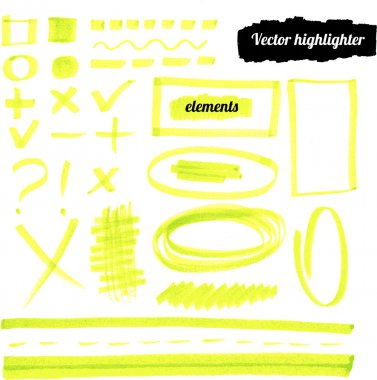 Vector yellow highlighter elements.