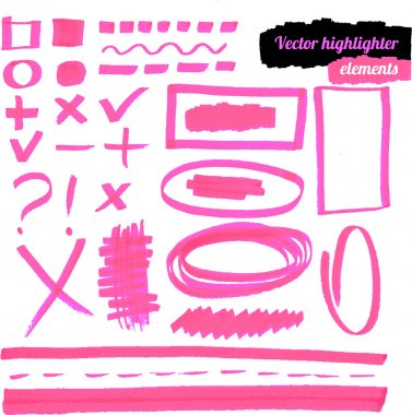 Vector pink highlighter elements.