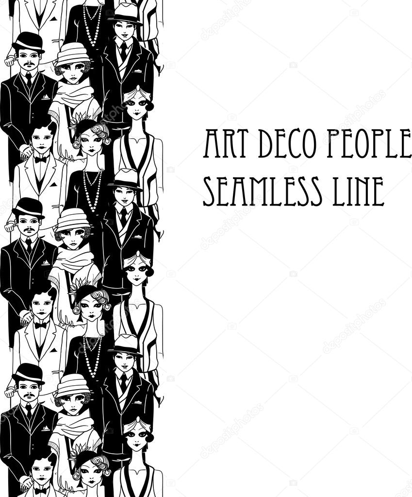 Doodle people in art deco style
