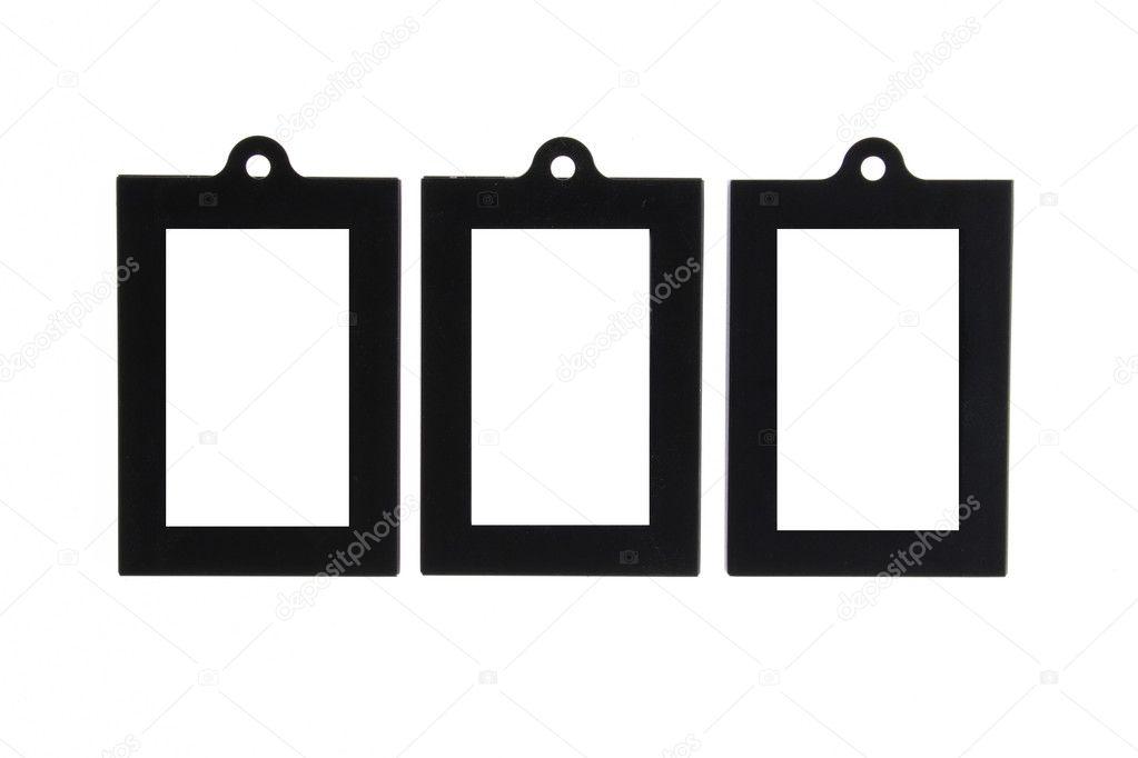 tres negro cuadro marco con agujero para colgar — Fotos de Stock ...