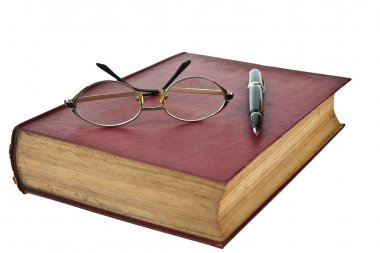 Old books with eye glasses and pen isolated on white background stock vector
