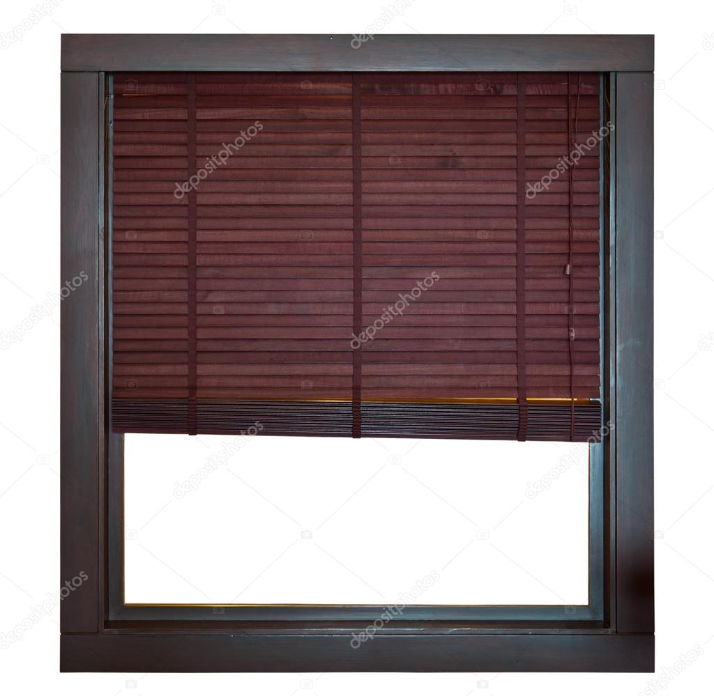 marco de madera, ventana con persiana de bambú — Fotos de Stock ...