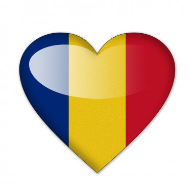 Romania flag in heart shape isolated on white background