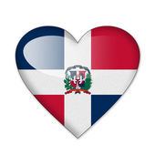 Dominican flag in heart shape isolated on white background