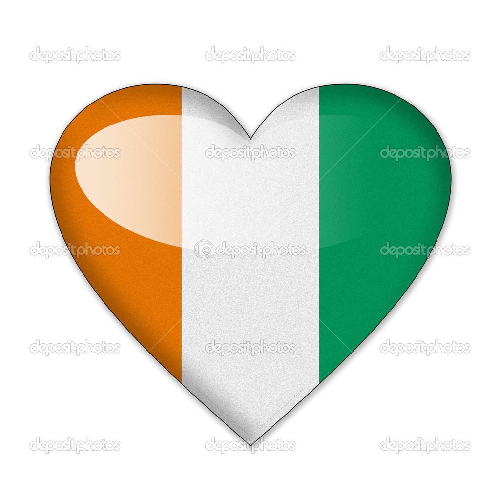 ivory coast flag in heart shape isolated on white background stock photo 30872757