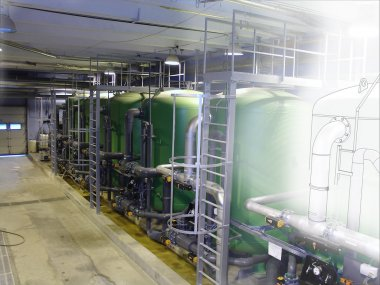 sketch mixed with photo water treatment tanks at power plant