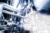 Náčrt potrubí konstrukce smíšené s průmyslové zařízení Foto