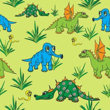 Dinosaurs walking in nature. Seamless.