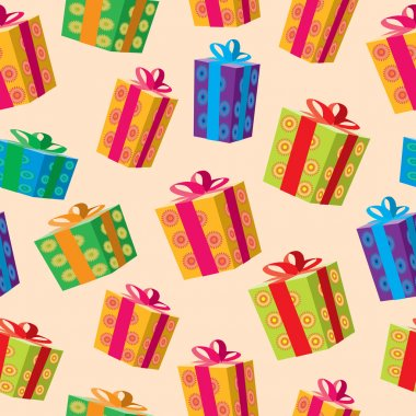 Seamless background of gift boxes.