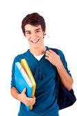 mladý šťastný student účetní knihy