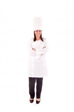 Professional cooker chef over white background