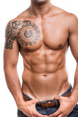 detail břišních svalů