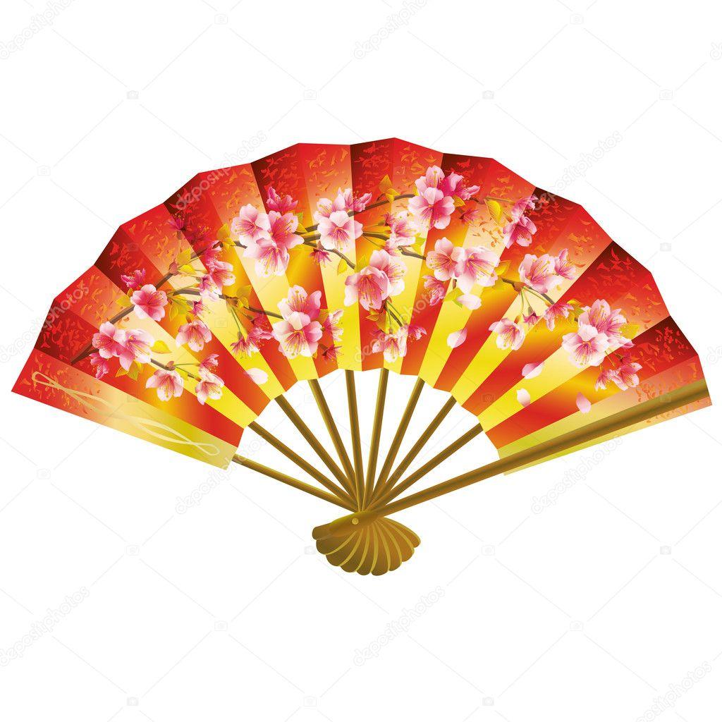 Japanese fan over white — Stock Vector © silvionka #14043775