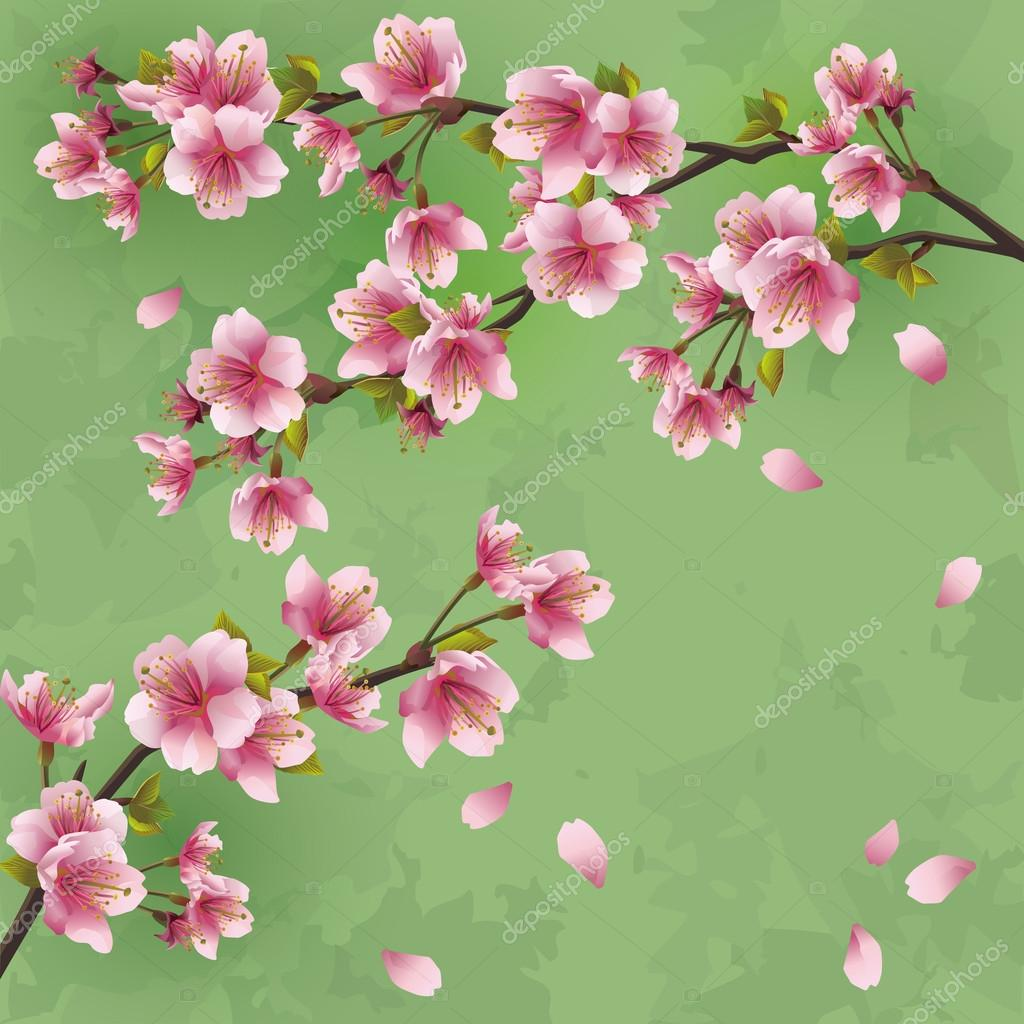 Vintage Cherry Blossom Background