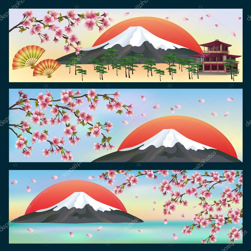 Set of horizontal banners, japanese style