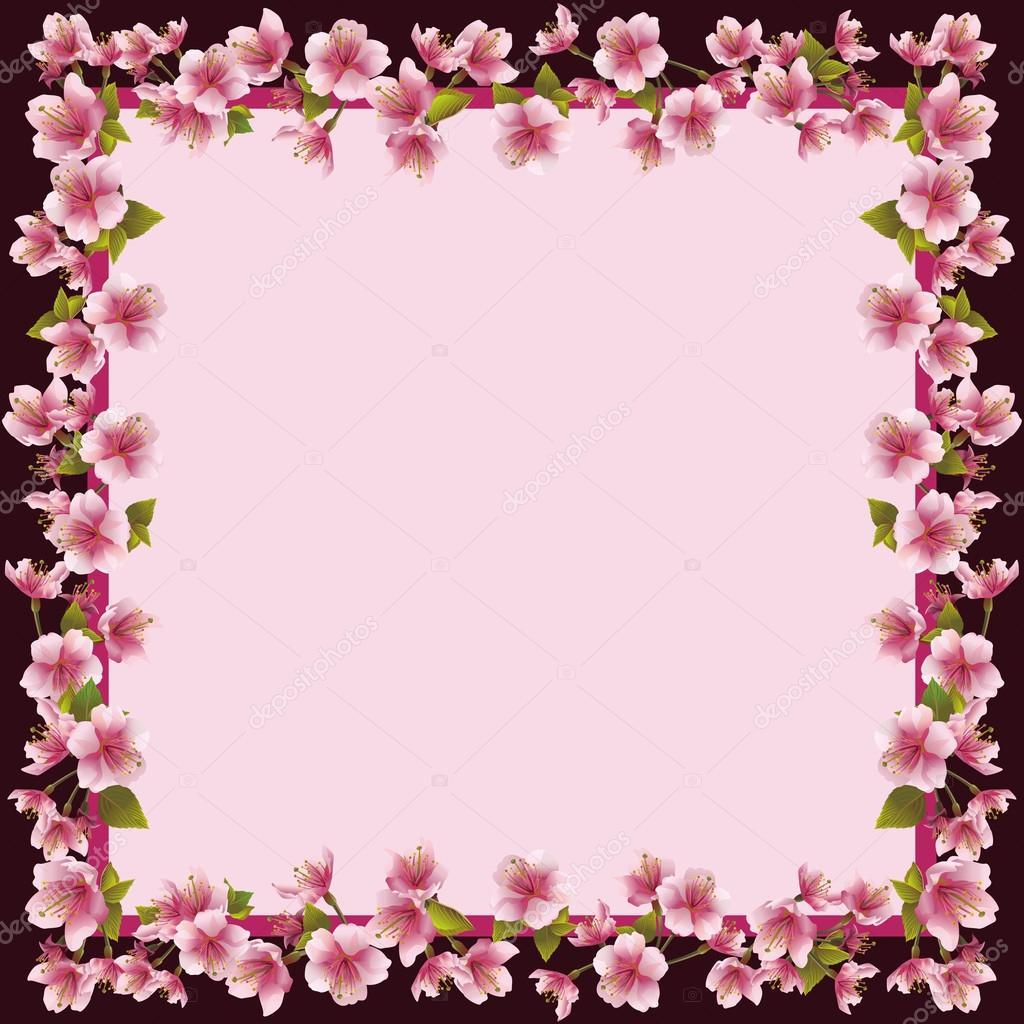 Rahmen mit Sakura Blüte - japanischer Kirschbaum — Stockvektor ...