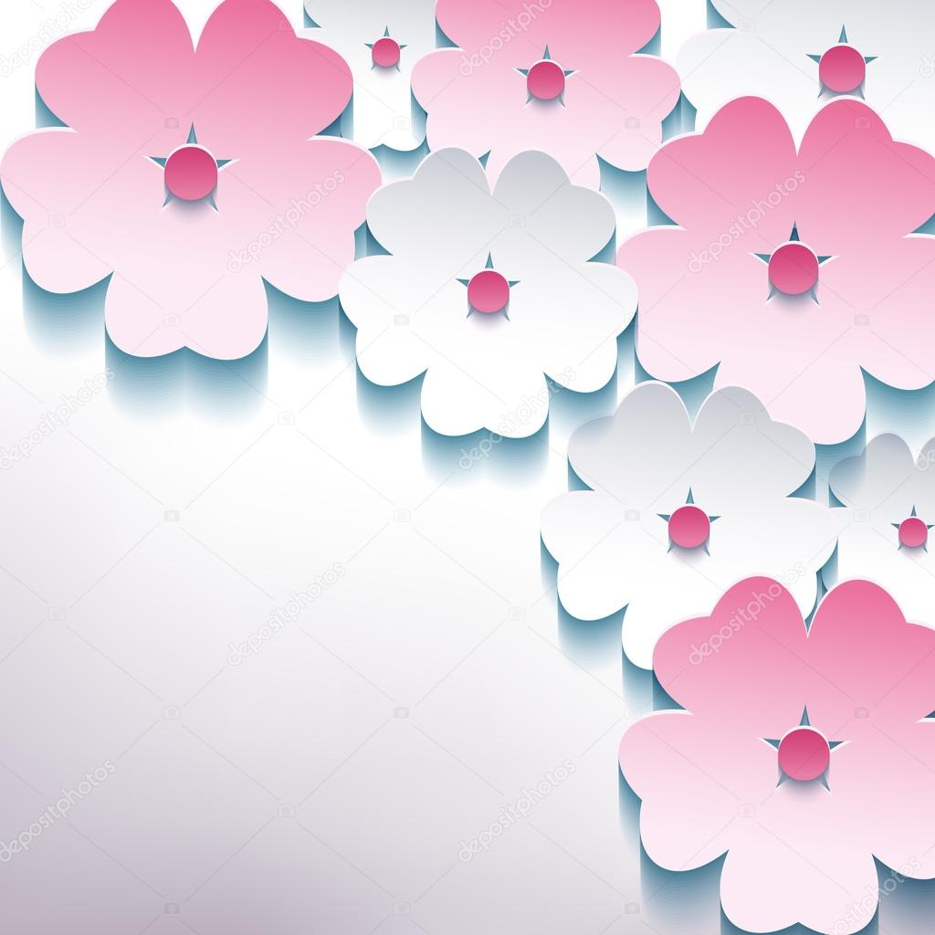 Floral abstract stylish background with 3d flower sakura