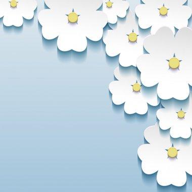 """Картина, постер, плакат, фотообои """"сине - серый цветочные абстрактный фон, 3d цветы сакуры"""", артикул 33590587"""
