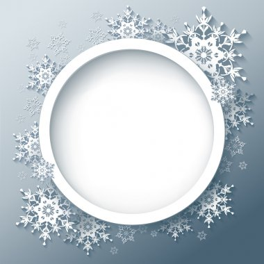 Winter gray background with 3d snowflakes