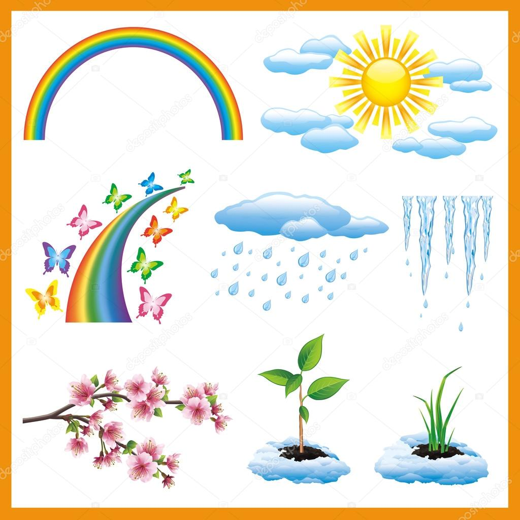 Set of spring nature object, vector icon