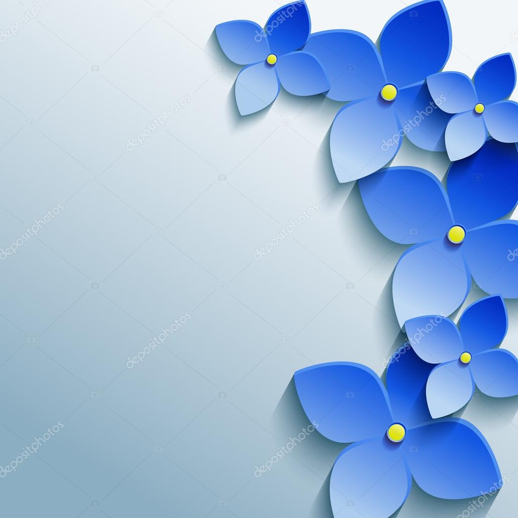 abstract gray floral background with blue 3d flowers — stock vector