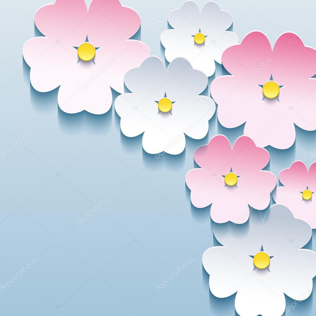 Abstract floral stylish background with 3d flowers sakura