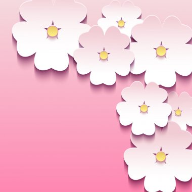 Beautiful abstract floral stylish background with pink 3d flower sakura. Trendy modern background. Greeting or invitation card. Vector illustration clip art vector