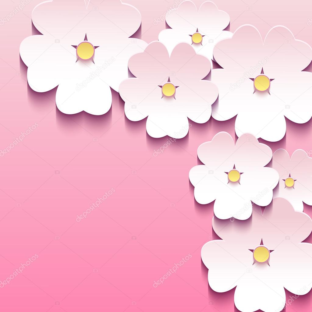 Abstract floral pink background with 3d flowers sakura