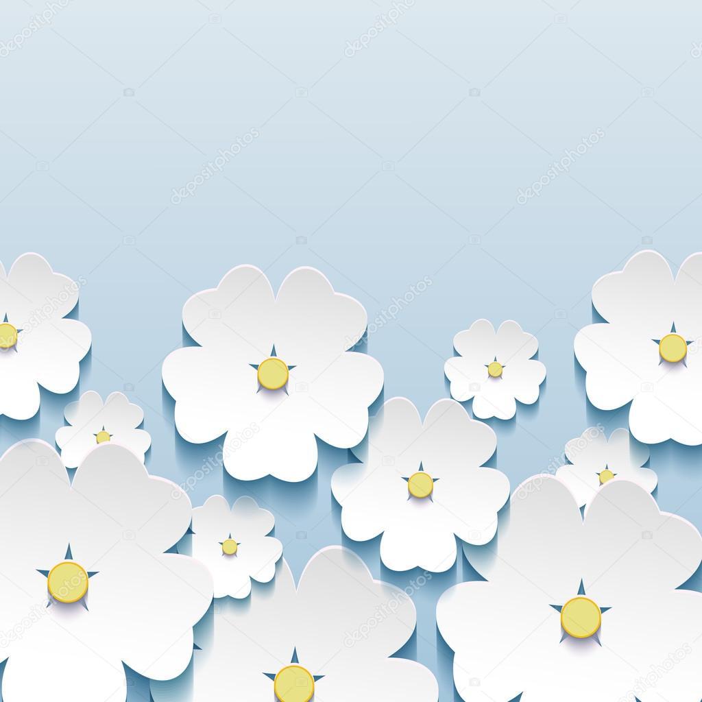 Beautiful stylish greeting card with 3d flowers sakura