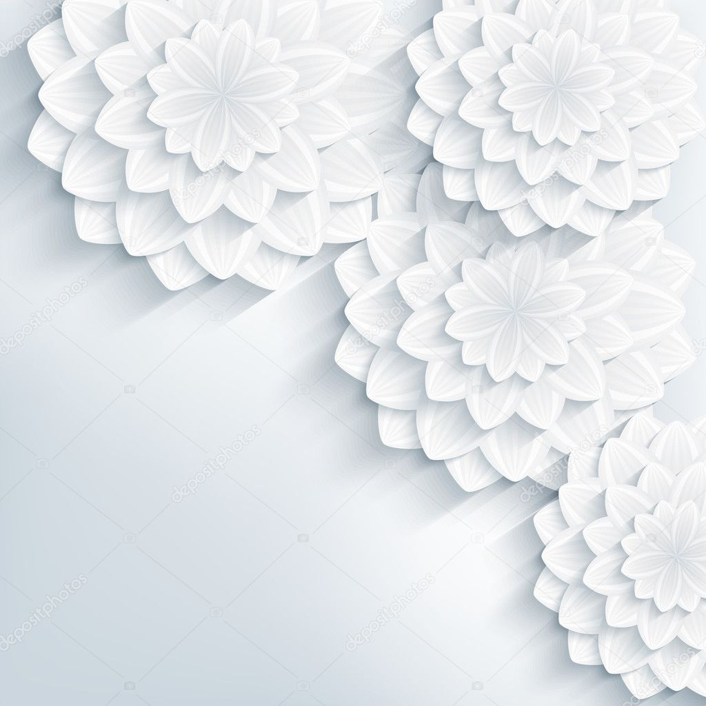 Floral trendy abstract background with 3d flowers