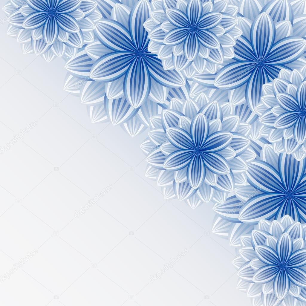 Beautiful lace blue-gray background with flowers