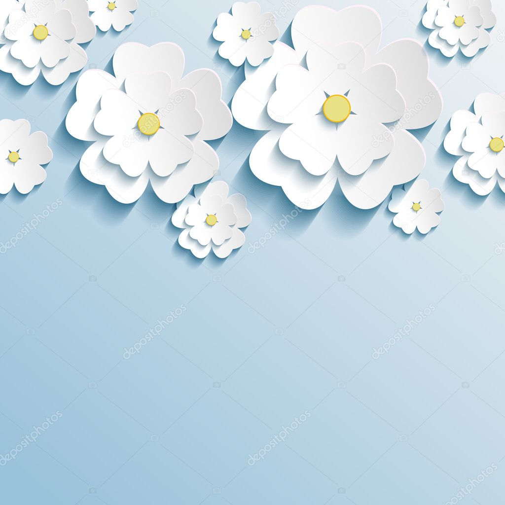 Stylish trendy wallpaper with 3d flowers sakura