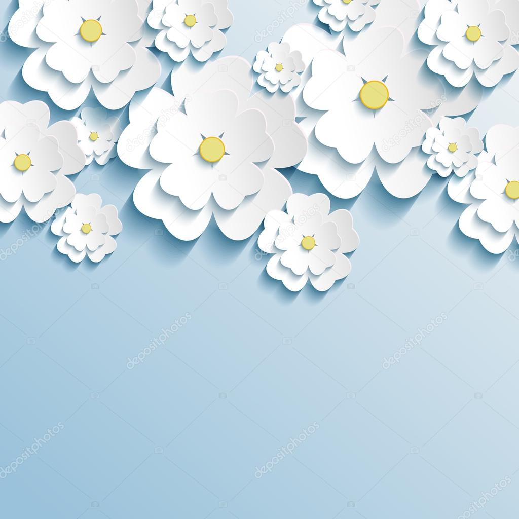 Beautiful wallpaper with 3d stylish flowers sakura