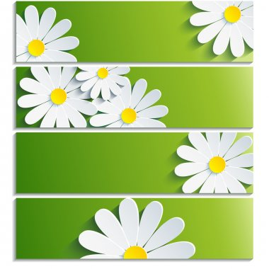 Set of banners with 3d flower chamomile