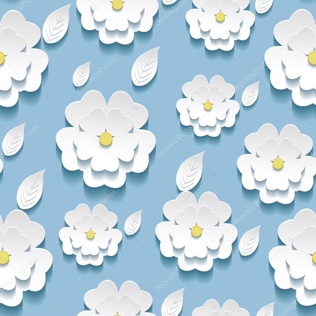 Seamless pattern with 3d white sakura