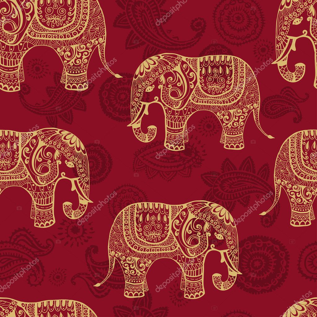 Stylized elefants seamless pattern